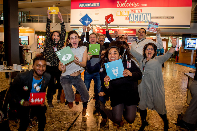 Participants of the SDG Global Festival of Action 2018 jump
